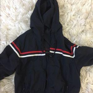 brandy melville dark blue striped zip up jacket.